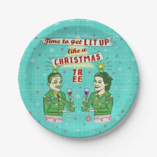 Lustiges WeihnachtsParty-Retro erwachsener Pappteller