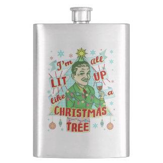 Lustiges WeihnachtsRetro trinkender Spaß-Mann-Lit Flachmann