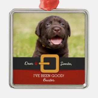 Lustiges Weihnachtssankt-HundeFoto und Quadratisches Silberfarbenes Ornament