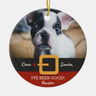Lustiges Weihnachtssankt-HundeFoto und Rundes Keramik Ornament