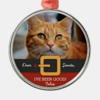 Lustiges Weihnachtssankt-Katzen-Foto und Rundes Silberfarbenes Ornament