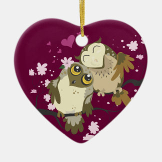 Luv Birds~owl Verzierungen Keramik Ornament