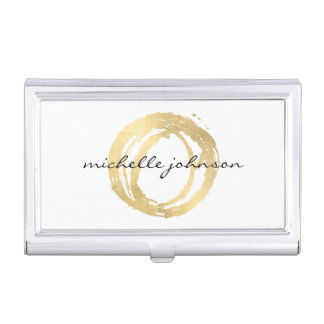 Luxe Imitat-Gold gemaltes Kreis-Designer-Logo Visitenkarten Etui