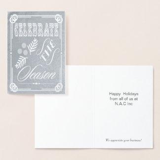 Luxe Typografie Unternehmensfeiertags-Gruß Folienkarte