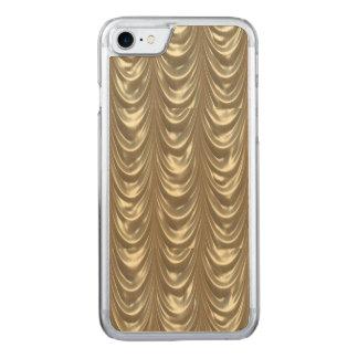 Luxuriöses goldenes mit Rüschen besetztes Satin Carved iPhone 8/7 Hülle