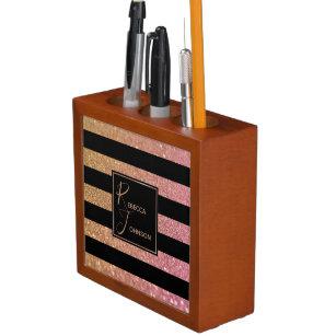 Luxus Gold Pink Glitzer Stripes - Desk Organisator Stifthalter