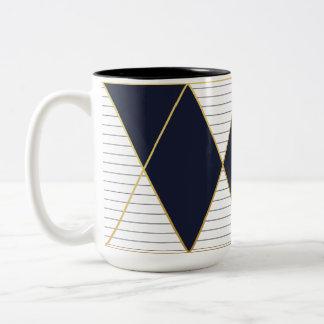 Luxusmarine-Blau-Goldstreifen-Monogramm Zwei-Ton Zweifarbige Tasse