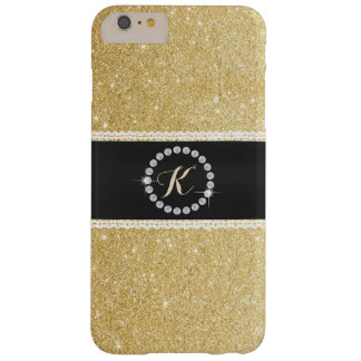 Luxusmonogramm-schwarzer Gurt-GoldGlitter Barely There iPhone 6 Plus Hülle