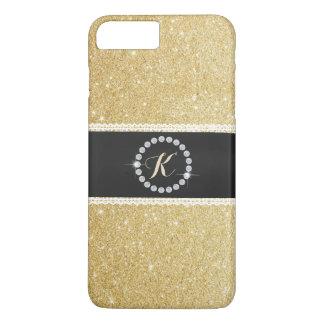 Luxusmonogramm-schwarzer Gurt-GoldGlitter iPhone 8 Plus/7 Plus Hülle