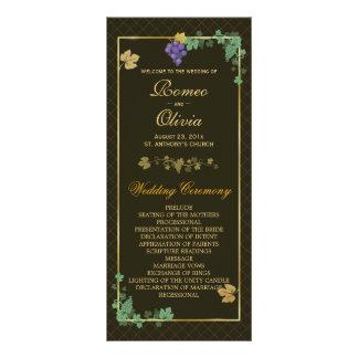 LuxusWeinreben mit Goldrahmen-Hochzeits-Programm Werbekarte