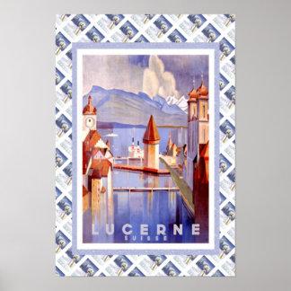 Luzerne ferroviaire suisse vintage de Lucerne