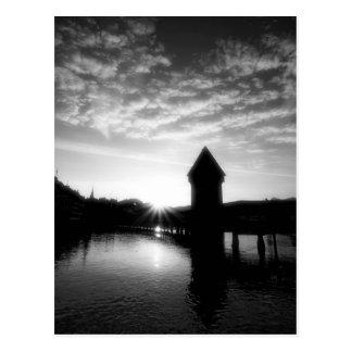 Luzerne-Kapellen-Brückensonnenaufgang Postkarte