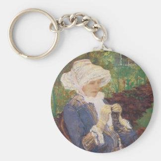 Lydia, der im Garten an mergeligem, Mary Cassatt Schlüsselanhänger