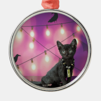 Lykoi Kätzchen u. Krähen Rundes Silberfarbenes Ornament
