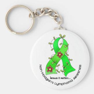 Lymphom-Bewusstsein Non-Hodgkins BLUMEN-BAND 1 Standard Runder Schlüsselanhänger