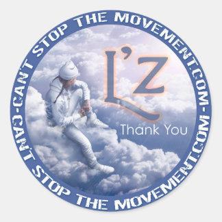 """L'z """"danken Ihnen"""" runden Aufkleber-Glattes Runder Aufkleber"""