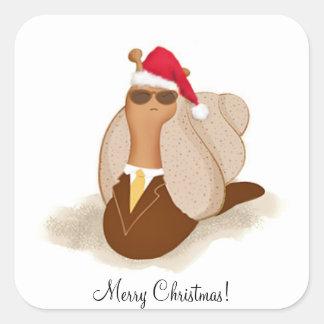 M. Cool Snail dans le costume et la cravate et le Sticker Carré