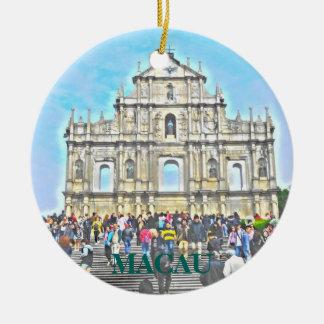 Macao-China-Erinnerungs-Weihnachtsverzierung Rundes Keramik Ornament