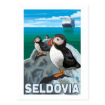 Macareux et bateau de croisière - Seldovia, Alaska Cartes Postales
