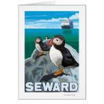 Macareux et bateau de croisière - Seward, Alaska Carte De Vœux