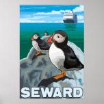 Macareux et bateau de croisière - Seward, Alaska Poster
