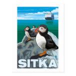 Macareux et bateau de croisière - Sitka, Alaska Carte Postale