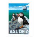 Macareux et bateau de croisière - Valdez, Alaska Cartes Postales