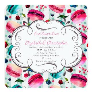 Macarons französischer Nachtisch in den Wedding Karte
