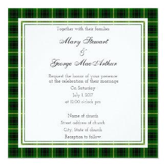 MacArthur schottische Hochzeits-Quadrat-Einladung Karte
