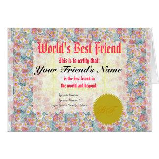 Machen Sie der beste Freund-Zertifikat einer Welt Grußkarte