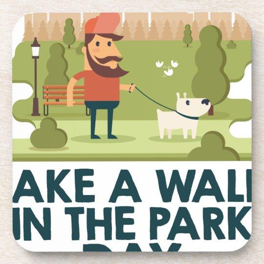 Machen Sie einen Spaziergang am Park-Tag Untersetzer