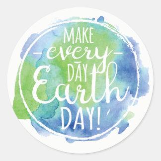 Machen Sie täglichen Tag der Erde-Aufkleber Runder Aufkleber