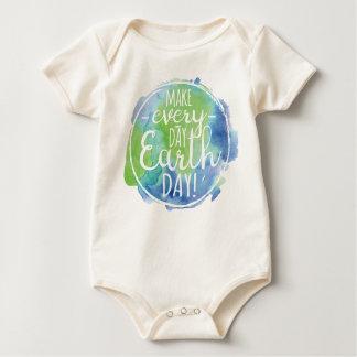 Machen Sie täglichen Tag der Erde-Bodysuit Baby Strampler