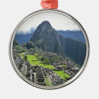 Machu Picchu Rundes Silberfarbenes Ornament