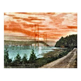 Mackinac Brücken-Vintage Postkarte