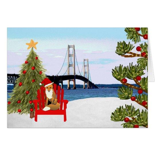 Mackinac Brücken-Weihnachtskarte mit Strand-Stuhl Grußkarte