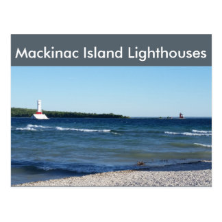 Mackinac Insel-Leuchttürme - runde Insellichter Postkarte