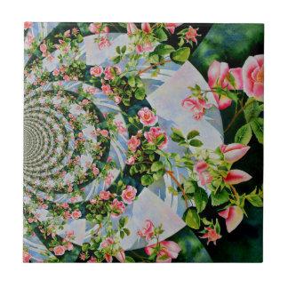 Mackinac Rose Mandala 1 Kleine Quadratische Fliese