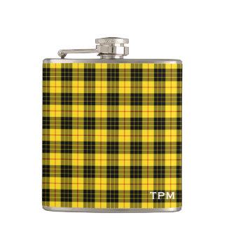 MacLeod Clan-gelbes und schwarzes Tartan-Monogramm Flachmann