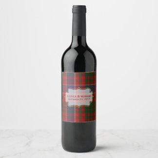 MacRae Tartan-karierter Hochzeits-Wein-Aufkleber Weinetikett