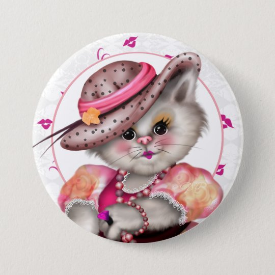MADAME CAT CUTE CARTOON groß, 3 Zoll Runder Button 7,6 Cm