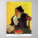 Madame Ginoux de L'Arlesienne avec des livres par  Posters