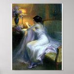 Madame lisant des beaux-arts d'antiquité de lettre posters