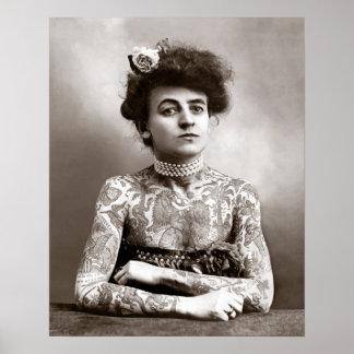 Madame tatouée, 1907. Photo vintage Poster