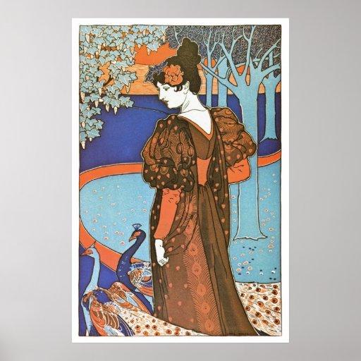 Madame vintage de Nouveau d'art avec des paons Posters