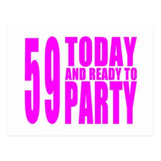 Mädchen-59. Geburtstage: 59 heute und bereiten Sie Postkarte