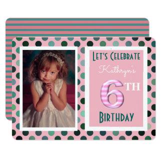 Mädchen-6. Geburtstags-Party Einladung