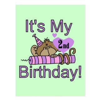 Mädchen-Affe-2. Geburtstags-T-Shirts und Geschenke Postkarte