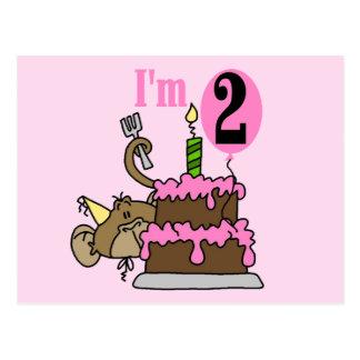 Mädchen-Affe bin ich 2 Geburtstags-T-Shirts Postkarte