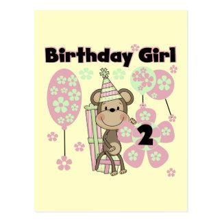 Mädchen-Affe mit Geschenk-2. Geburtstags-T-Shirts Postkarte